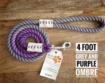 4ft, 3/8in Purple and Grey Ombré rope leash