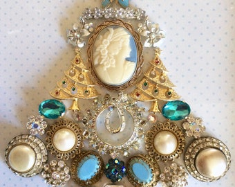 Vintage jewelry collage, blue Christmas tree jewelry memory picture, Cameo antique brooch, Christmas tree pin, upcycled assemblage decor