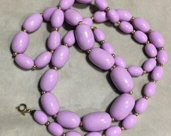 Vintage Purple Graduated Bead Purple Necklace