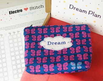 Dream Plan - Goal setting kit for success. 6 x 8 embroidered zip bag pouch, A5 step by step goal setting guide, A3 21 day action planner