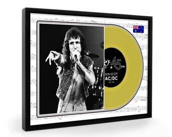 Bon Scott ACDC Framed Gold Disc Display Premium Edition (O)