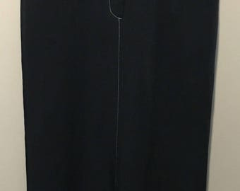 Vintage 1980s Optionelle Long Navy Skirt with Contrast Stitching - Size 7/8