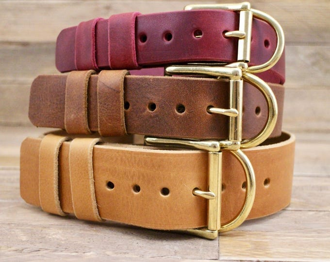 Large dog collar, FREE ID TAG, Handmade leather collar, Dog collar, Collar, Gold hardware, Solid brass buckle, Classic collar.
