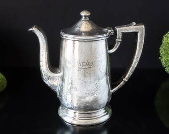 Rare Large Longchamp's Restaurant New York D.C. Silver Soldered Teapot Coffee Pot 1951 Original Vintage