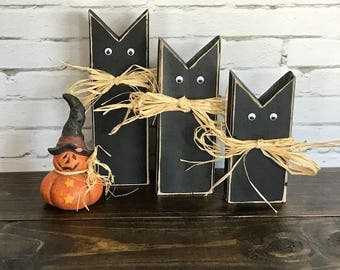 black halloween cats black cats rustic wood cats halloween decorations halloween decor - Small Halloween Decorations