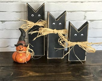 black halloween cats black cats rustic wood cats halloween decorations halloween decor - Halloween Cat Decorations