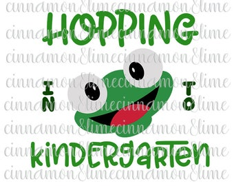 Hopping Into Kindergarten Svg