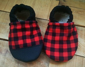 Buffalo plaid, red, black, rubber toe,  Moccasins, baby crib shoes, soft sole