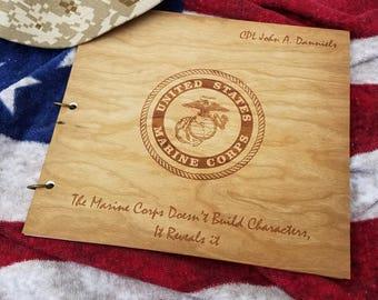 Marine Album Wood Engraved/Memorial Photo Album Wood/Book of Condolence/Fallen Hero Photo Album/Veteran's Day Album/Lost Soldier Album