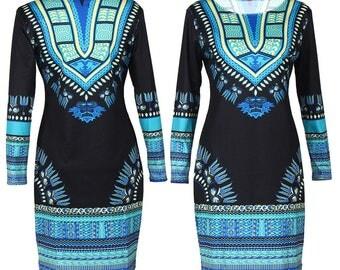 Danshiki bodyCON dress, knee length, african clothing, summer dress, the african shop, african wedding dress, dinner dress, african