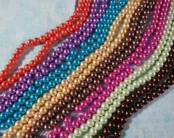 """8mm Round Glass Pearl Bead Strand 32""""  (B214A)"""