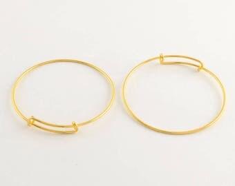 2 Gold Tone Brass Expandable Charm Bangle Bracelets 70mm (B476a)