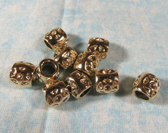 10 Gold Plated Flower Euro Style Charm Beads (B492o)