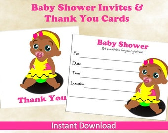 African American Printable Baby Shower Invitations and Thank You Cards~Baby Girl~Blank Baby Shower Invitations~Baby Girl Thank You Cards