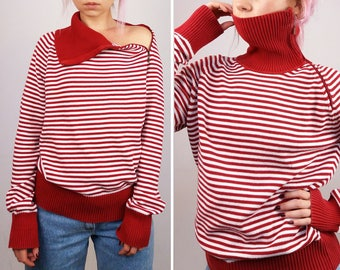 Vintage 90's ESPRIT High Neck Striped Red and White Jumper / Sweater / Pullover Women Knit Long Sleeve | Size S-M