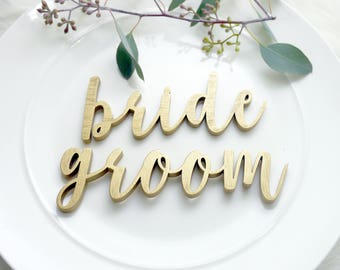 Bride and Groom Wedding Place Settings | Wedding Plate Signs