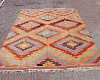"""Handmade vintage turkish kilim rug, large rug, area rugs, vintage rug, bohemian rug, large kilim rug, pink rug, 102"""" x 84"""""""