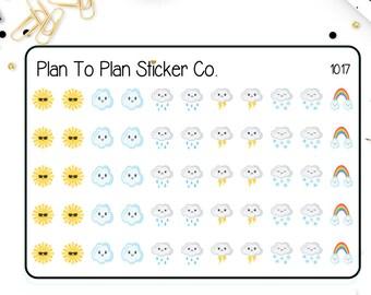 1017~~ Multi Weather Sun, Rain, Wind, Snow Kawaii Planner Stickers.