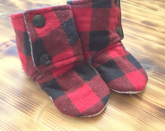 Buffalo Plaid Booties - Stay On Booties - Red Plaid Slippers - Fall Baby Boots - Lumberjack Booties - Baby Bootie - Baby Shower Gift