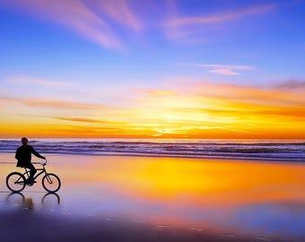 Riding into the Sunset- Metal Print