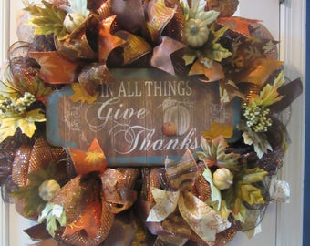 In All Things Give Thanks Fall Wreath