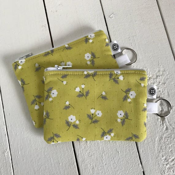 Change Purse | Flowers in the Grass, Credit Card Holder,  Zipper Pouch, Cotton