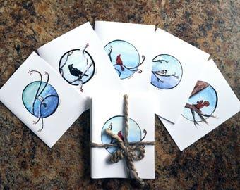Woodland Holiday Greeting Card Set 2 - Forest Tree Birds Christmas Winter Cute Cardinal Chickadee Blue Jay Crow Gray Jay Squirrel Snow