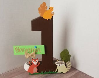 Woodland Friends Number 1-9 Stand Up Prop, Woodland Birthday Party, Birthday Woodland Friends Theme, Personalized Woodland Picture Prop