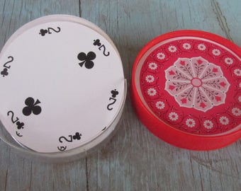 Vintage Round Deck of Playing Cards Circular Made in Hong Kong Full Deck including Jokers