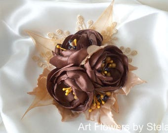 Chocolate flower hair clip Coffee flower clip Bohemian lace hair accessory BohoChic fascinator Bridal gold rose Bridal satin rose