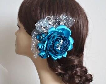 Blue hair clip Bridal flower Hair accessory Flower hair clip Teal blue clip Wedding fascinator blue Hair piece Rose Hair Clip