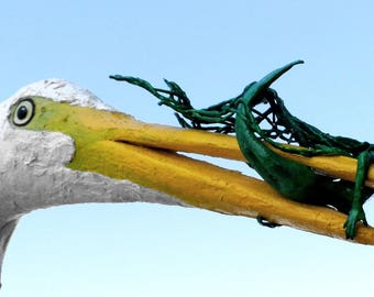 Egret with Mermaid Sculpture