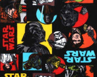 "Star Wars original charcters primary colors fabric, by the half yard, 44"" wide, 100% cotton, star wars fabric, movie fabric, yoda fabric"