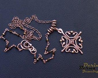 Wire Wrapp Copper Cross Pendant,Swarowski chain copper celtic pendant,celtic cross necklace,wire jewelry,copper cross pendant,Free Shipping