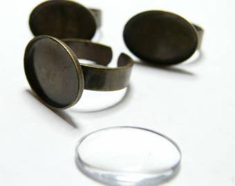 10pieces: oval bronze 5bagues H 13 par18 and 5 glass cabochons