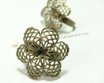 4 flower 3D Bronze rings