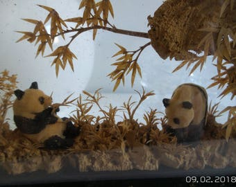 Oriental Chinese Lacquer Diorama Cork Art Sculpture Carving Pandas