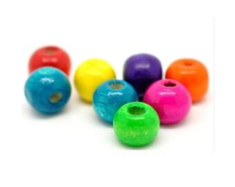 set of 50 wooden beads, 8 mm x 6 mm color blend