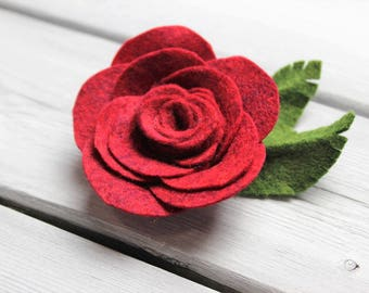 Wool blend felt REd ROSE