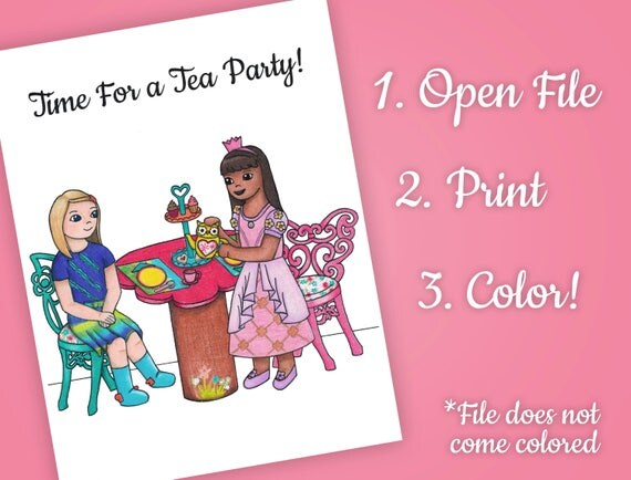 Wellie Wisher Tea Party Coloring