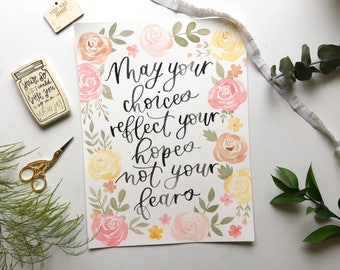 watercolor painting / painted quote with flowers / gift for her / hopes and fears / floral print