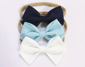 Navy bow Classic pastel navy and white bow headband newborn kids hairbow accessories