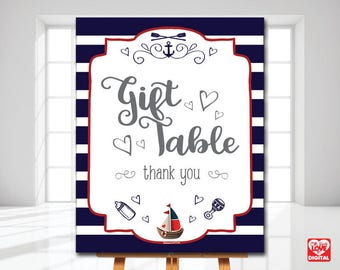 Nautical Baby Shower Printable Gift Table sign, Gifts Sign, Nautical Baby, Sailor Nautical Theme, 8x10 Instant Download, Nautical Shower,JPG