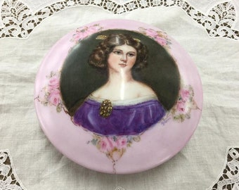 Victorian Hand Painted Trinket/Jewelry/Powder Box