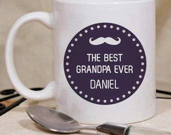 Brightly Designed the Best Grandpa Ever Personalized Mug Name Printed