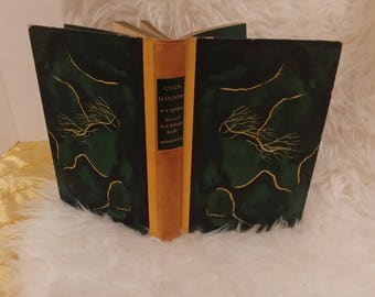 FREE SHIPPING: Classic novel by W. H. Hudson, Green Mansions. Well preserved illustrations by E. McKnight Keffer, gold and green book
