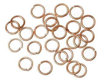 100 6mm rose gold colored jump rings