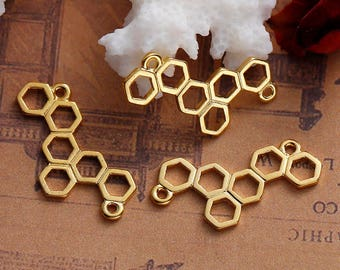 10 connectors in the shape of cell bee openwork Metal Gold or silver 2.6 cm / Beehive / honey
