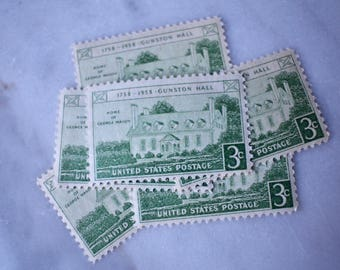 Gunston Hall Stamp | 10 Unused Vintage Postage Stamps | 3 Cents | 1958