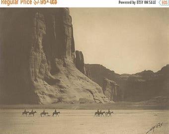 ON SALE Canyon de Chelly - Edward Curtis - 1904 - Pueblo - Photo - Print - Photography - Vintage - Native American - Photograph- Antique - A